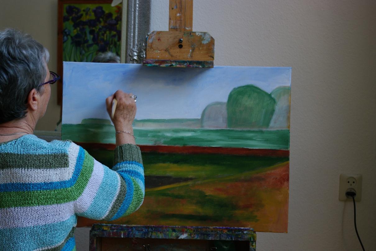 Landschap schilderen, acrylverf op doek