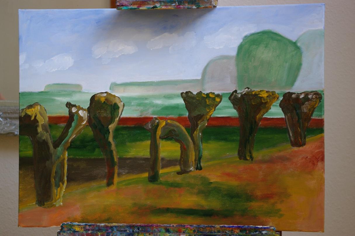 Landschap schilderij, acrylverf op doek