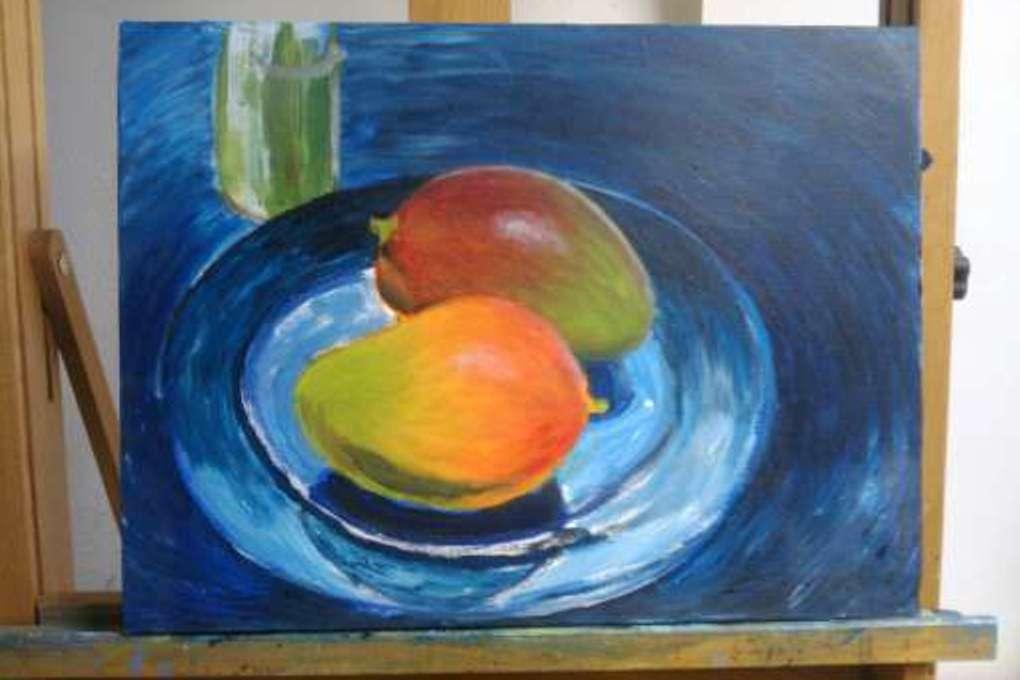 Stilleven van twee mango's, acrylverf op doek