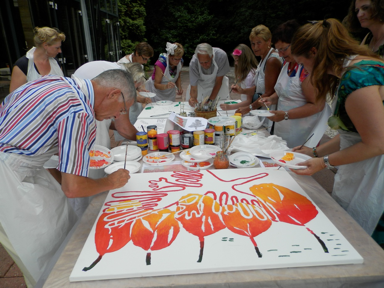 Schilderworkshop Multipainting bruiloftsfeest Kasteel De Wittenburg